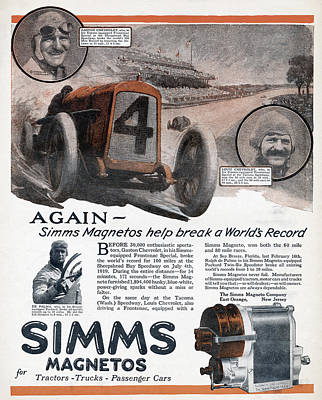 Ad Simms Magnetos, 1919 Poster by Granger