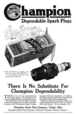 Ad Spark Plugs, 1919 Poster by Granger