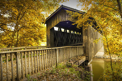 Ada Covered Bridge In Autumn Poster by Randall Nyhof