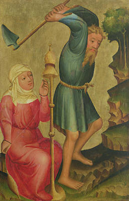 Adam And Eve At Work, Detail From The Grabow Altarpiece, 1379-83 Tempera On Panel Poster by Master Bertram of Minden