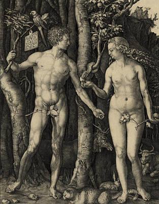 Adam And Eve In The Garden Of Eden - Albrecht Durer 1504 Poster