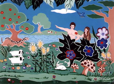 Poster featuring the painting Adam And Eve by Joyce Gebauer