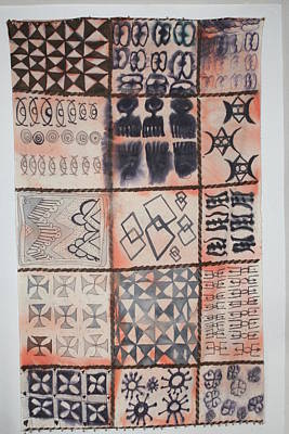 Poster featuring the tapestry - textile Adinkra Cloth With Bells by Carrie Maurer