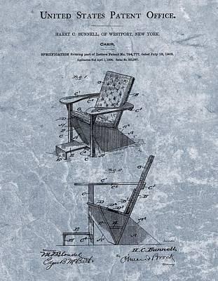 Adirondack Chair Patent Blue Poster