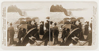 Admiring Tourists Viewing The Falls, From Prospect Point Poster by Litz Collection