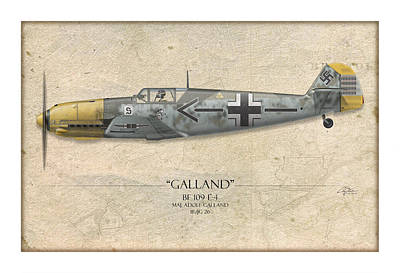 Adolf Galland Messerschmitt Bf-109 - Map Background Poster by Craig Tinder