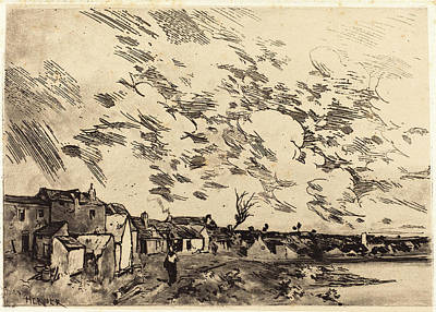 Adolphe Hervier French, 1818 - 1879, Village Sur Le Bord Poster