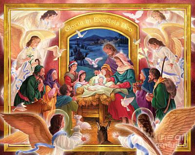 Adoring Angels Nativity Poster