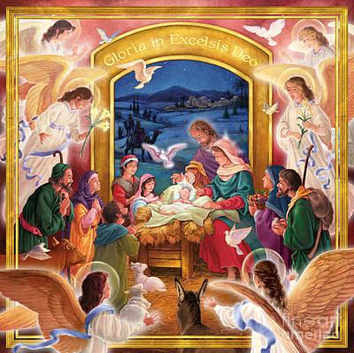 Adoring Angels Nativity Square Poster