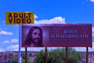 Adult Video With Billboard Poster by Garry Gay