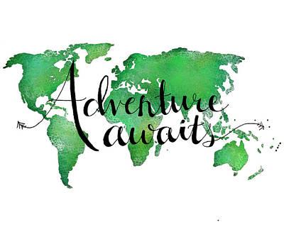 Adventure Awaits Green Poster
