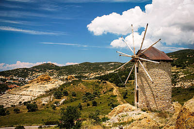 Aegean Windmill Poster by Suzanne Morris