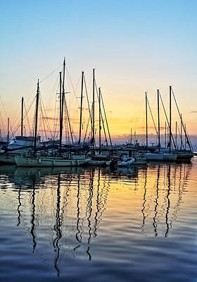 Aegina Harbour Sunset Poster