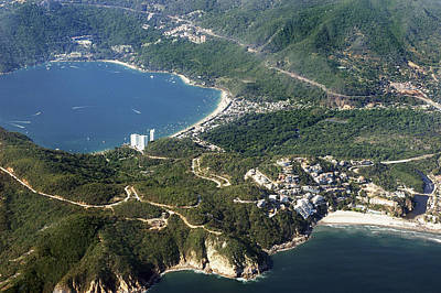 Aerial  Of Acapulco Bay Mexico From Both Sides Poster