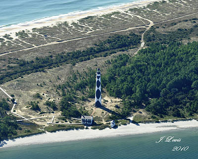 Aerial Of Cape Lookout Lighthouse Poster by James Lewis