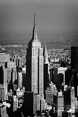 Aerial Shot Of Empire State Building New York City Usa Poster by Joe Fox