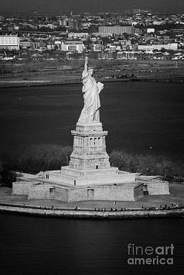 Aerial Shot Of The Statue Of Liberty Island New York Nyc Poster by Joe Fox
