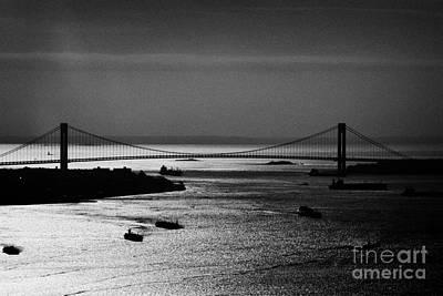 Aerial Shot Ships Navigate New York Bay Harbor Under Verrazano Narrows Bridge New York Poster by Joe Fox