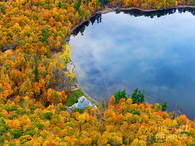 Aerial View Of A Canadian Lake In The Fall Season Poster