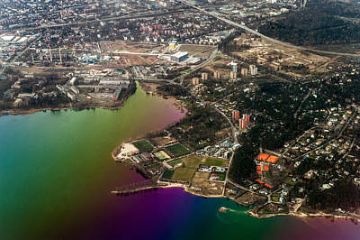 Aerial View Of Bay. Rainbow Earth Poster