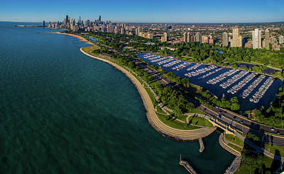 Aerial View Of Diversey Harbor Poster
