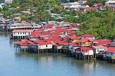 Aerial View Of Houses On Stilts Poster