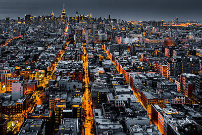 Aerial View Of New York City At Night Poster
