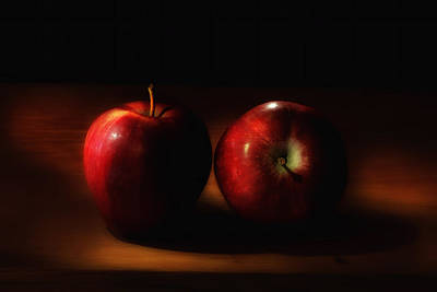 Aeromatic Red Delicious Apples In The Light From The Kitchen Window Poster