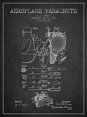 Aeroplane Parachute Patent From 1921 - Charcoal Poster
