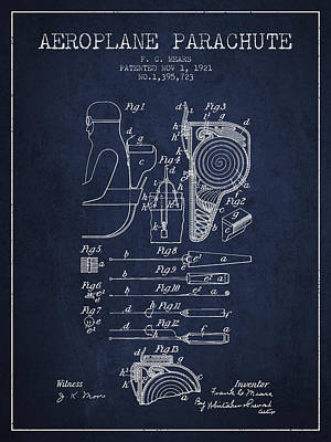 Aeroplane Parachute Patent From 1921 - Navy Blue Poster