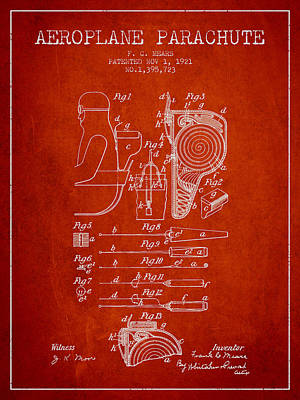 Aeroplane Parachute Patent From 1921 - Red Poster