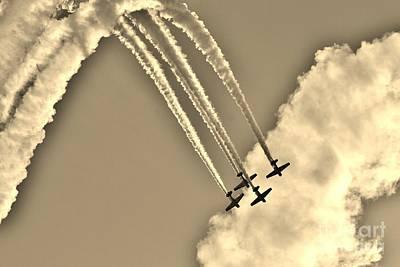 Aeroshell Aerobatic Team In Sepia  Poster by Lynda Dawson-Youngclaus