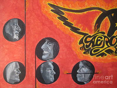 Poster featuring the painting Aerosmith Art Painting 40th Anniversary by Jeepee Aero