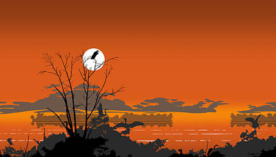 Abstract Florida Everglades Tropical Birds Sunset Landscape - Large Pop Art Nouveau - Panorama - 4 Poster by Walt Curlee
