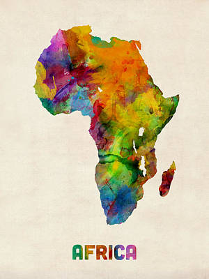 Africa Watercolor Map Poster by Michael Tompsett