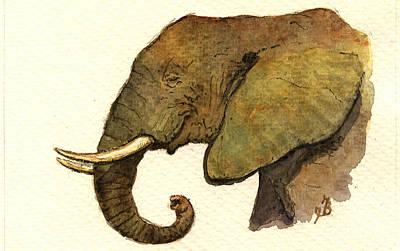 African Elephant Head Poster by Juan  Bosco