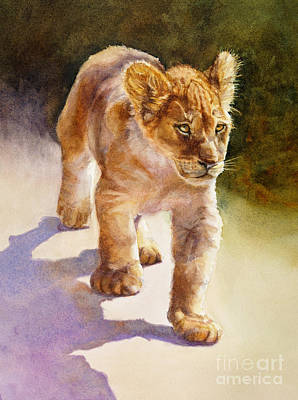 Poster featuring the painting African Lion Cub by Bonnie Rinier