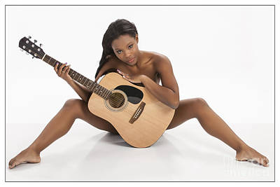 African Nude Holding Guitar 1013.02 Poster