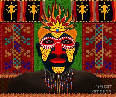 African Tribesman 1 Poster by Bedros Awak