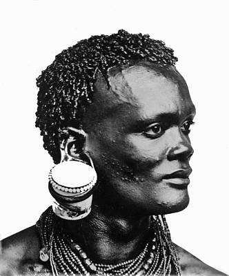 African With Jam Pot Ear Piercing Poster by Frank G Carpenter