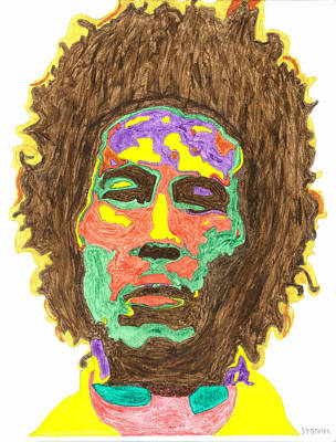 Poster featuring the painting Afro Bob Marley by Stormm Bradshaw