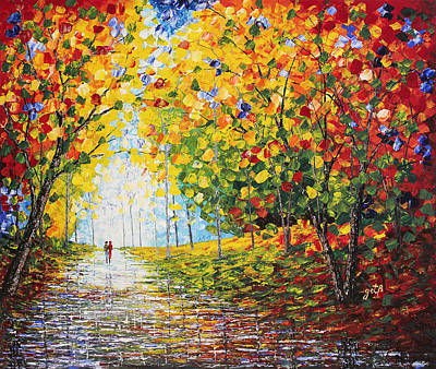 Poster featuring the painting After Rain Autumn Reflections Acrylic Palette Knife Painting by Georgeta Blanaru