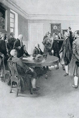 After The Massacre Samuel Adams Demanding Of Governor Hutchinson The Instant Withdrawal Of British Poster