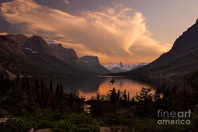Afterglow Over Wild Goose Island In Saint Mary Lake Poster by Charles Kozierok