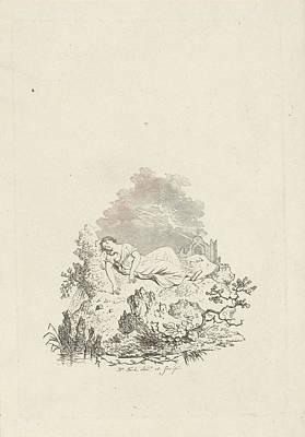 Against Rock Sleeping Woman, Hermanus Fock Poster by Hermanus Fock