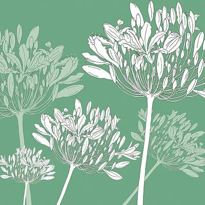 Agapanthus Breeze Poster by Sarah Hough