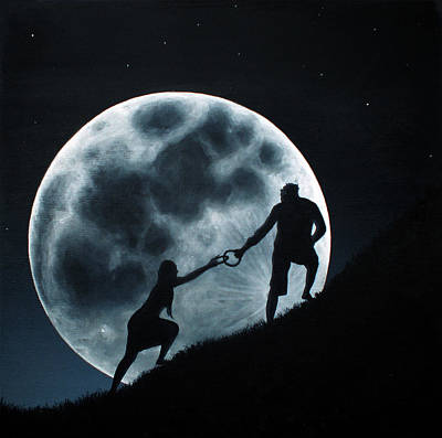 Poster featuring the painting Agape Under A Full Moon Rising by Ric Nagualero