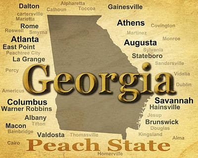 Aged Georgia State Pride Map Silhouette  Poster by Keith Webber Jr