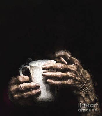Aged Hands Holding Mug Poster by Avalon Fine Art Photography