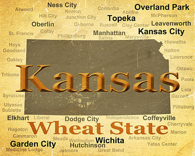 Aged Kansas State Pride Map Silhouette  Poster by Keith Webber Jr